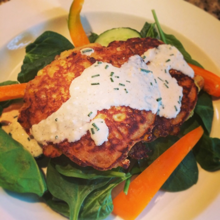 cheddar corn cakes recipe -- gluten free and vegetarian meal.  Delicious!